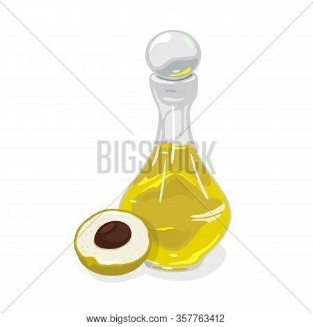 Half Of Ripe Longan Fruit With Seed Is Near Transparent Glass Bottle Closed By Round Cap Containing