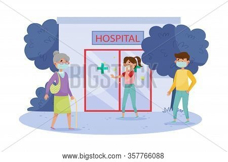 People Characters In Protective Masks Walking In The Street And Going To Hospital With Coronavirus S