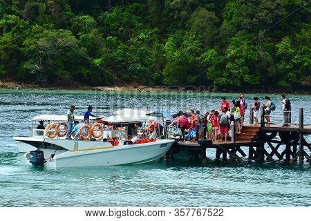 Sabah, My - June 20: Sapi Island Footbridge And Dock On June 20, 2016 In Sabah, Malaysia. Sapi Islan