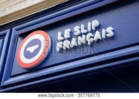 Bordeaux , Aquitaine / France - 11 25 2019 : Le Slip Francais Sign Shop Made In France Company Means