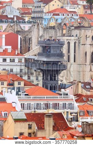 Lisbon City In Portugal. Cityscape With Santa Justa Lift.
