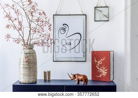 Stylish Scandinavian Living Room With Mock Up Poster Frame, Navy Blue Commode And Elegant Interior A
