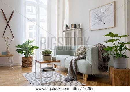 Stylish Scandinavian Living Room Interior Of Modern Apartment With Mint Sofa, Design Coffee Table, F