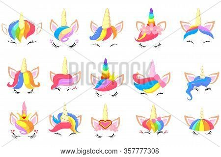 Pony Unicorn Face Elements. Pretty Hairstyle, Magic Horn And Little Fairy Crown. Unicorns Head Creat