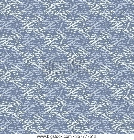 French Blu Linen Vector Broken Wave Stripe Texture Seamless Pattern. Brush Stroke Grunge Abstract Ba