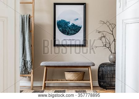 Modern Scandinavian Living Room Interior With Black Mock Up Poster Frame, Design Wooden Bench And El