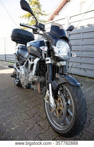 Bordeaux , Aquitaine / France - 11 18 2019 : Aprilia Mana 850 Automatic Motorcycle Front View Powerf