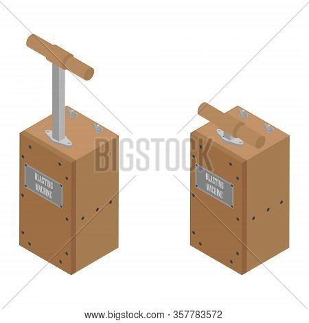 Detonator Boxes. Blasting Machine Isolated On White Background. Caution Explosive. Detonator Plunger