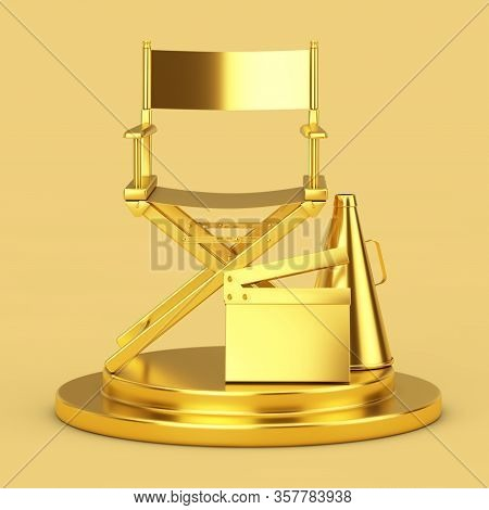 Golden Director Chair, Movie Clapper And Megaphone On A Golden Pedestal On A Yellow Background. 3d R