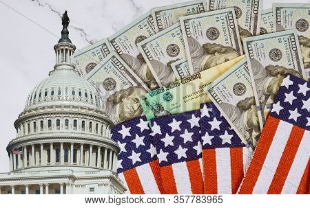 Financial A Stimulus Bill Individual Checks From Government Us 100 Dollar Bills Currency On American