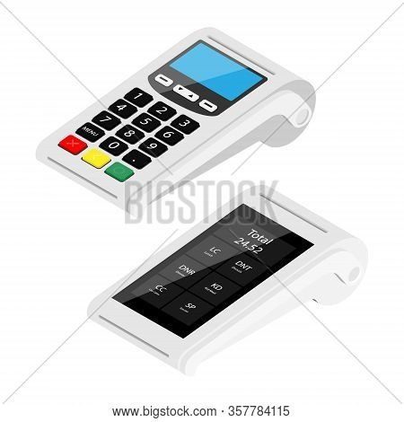 New Modern Smart Pos Terminal And Pos Terminal Payment Machine Isolated On White Background