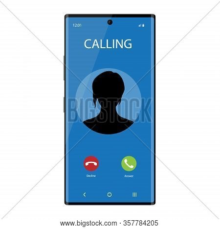 Smartphone With Incoming Phone Call Screen User Interface. Communication Concept