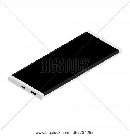 Realistic Smartphone Mockup. Cellphone Frame With Blank Display Isolated On White Background Isometr
