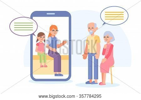 Grandparents Make Video Call With Smartphone. Social Media Communications. Flat Vector Illustration.