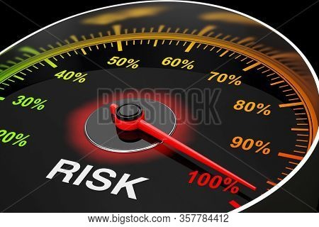 Speedometer As Risk Level Meter Extreme Closeup. 3d Rendering