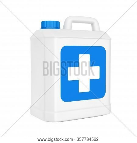 White Plastic Disinfectant Bottle With Blue Cross Label On A White Background. 3d Rendering