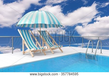 Swimming Pool On Roof With Chrome Swimming Pool Ladder And Two Beach Relax Pool Chairs Under Sunshad