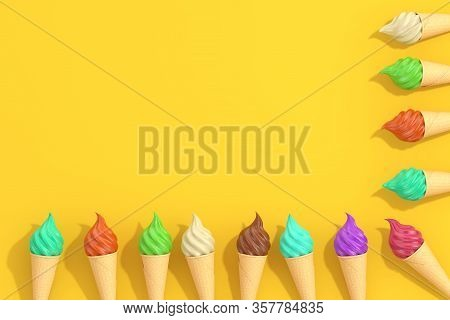 Row Of Multicolour Soft Serve Ice Cream In Waffle Crispy Ice Cream Cone On A Yellow Background. 3d R