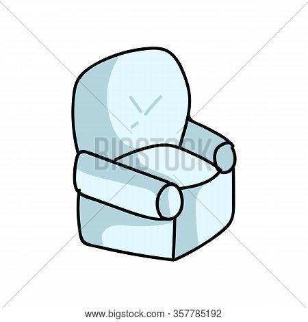 Cute Cartoon Lounge Armchair For Household Furniture Vector Clipart. Home Decor Living Room Recliner