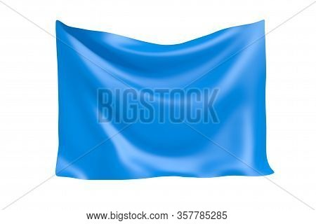 Textile Fabric Banner. Hanging Blue Cloth Banner With Blank Space For Your Design On A White Backgro
