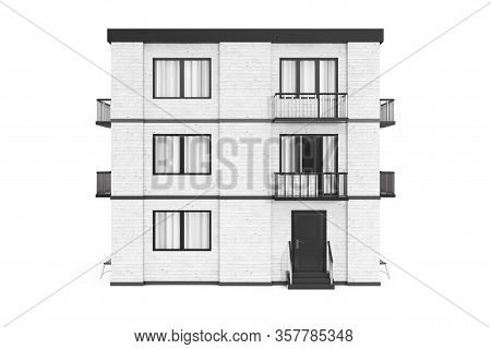 Real Estate Concept. City, Town White Brick House Building On A White Background. 3d Rendering