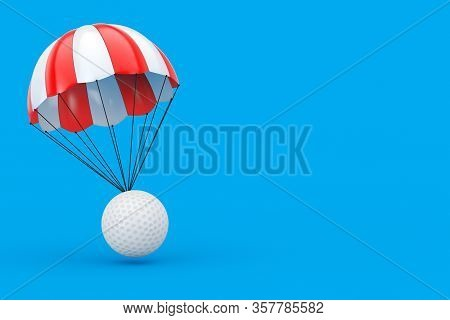 Red And White Parachute With White Golf Ball On A Blue Background. 3d Rendering