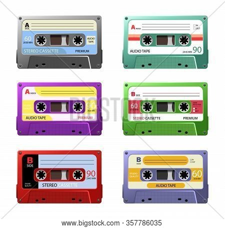 Retro Cassettes. Vintage Tape Cassette. Retro Mixtape, 1980s Pop Songs Tapes And Stereo Music Casset