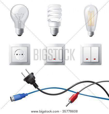 hochdetaillierte zuhause Strom Geräte Satz