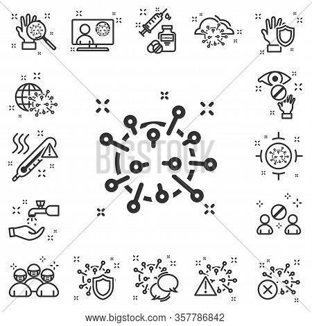 Coronavirus Icon Set Design. Collection Modern Lines Web Icons. Epidemic Coronavirus. Bacteria, Viru
