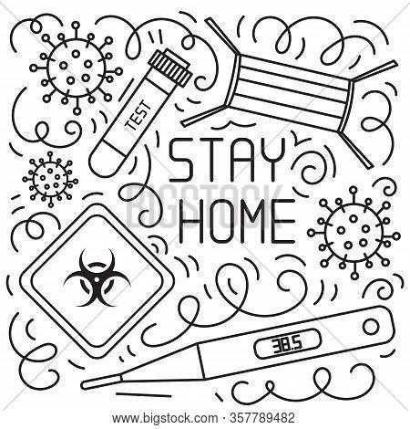 Concept Of Coronavirus Quarantine. Hand Drawn Vector Doodles Elements Such Quarantine Sign, Respirat