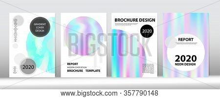 Holographic Gradient Vector Background. Hologram Minimal Light Covers Set. Rainbow Magazine Print Te