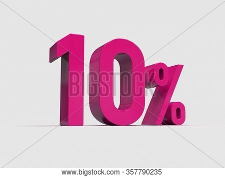 3d Render: Pink 10% Percent Discount 3d Sign on White Background, Special Offer 10% Discount Tag, Sale Up to 10 Percent Off, Ten Percent Letters Sale Symbol, Special Offer Label, Sticker, Tag
