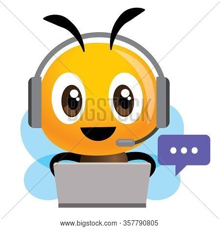 Smiling Bee Operator With Headset Working At Call Center Communicating With Customer. Customer Servi