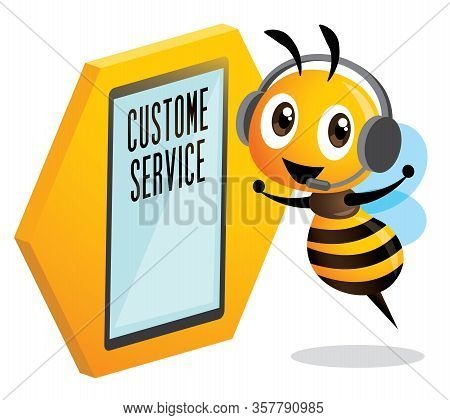 Cute Bee Customer Service Operator. Cute Bee Wearing Headset And Stay Beside Led Touch Screen Stande