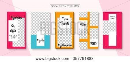 Modern Stories Vector Background. Online Shop Polygon Graphic Advert. Blogger Tech Design, Social Me