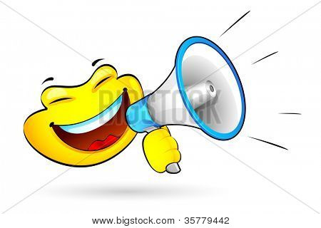illustration of smiley announcing on megaphone