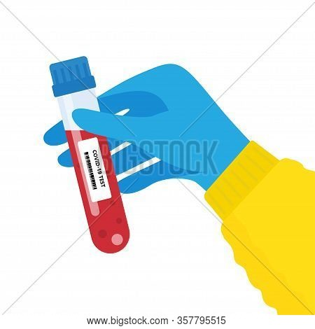 Hand Holds A Test Tube Containing A Blood Sample, Test Tube With Blood For Covid-19 Analyzing. Labor