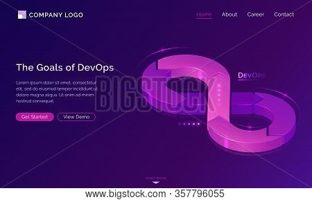 Goals Of Devops Banner. Concept Of Development Operations, Communication Of Programmers And Engineer