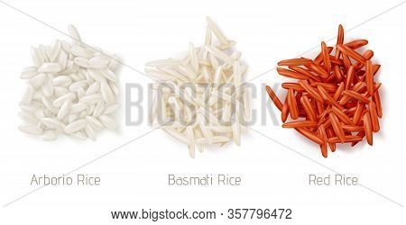 Rice Grain Heaps Different Types. Vector Realistic Pile Of Raw Seeds, Arborio, Basmati And Red Rice