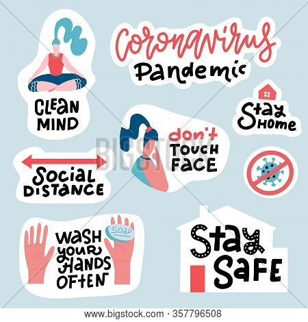 Coronavirus Covid-19 Prevention Sticker Set. Hand Drawn Pack With Lettering How To Protect Yourself