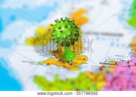 Covid-19 Outbreak Or New Coronavirus, 2019-ncov, Virus Pin In London On Map Of United Kingdom. Covid