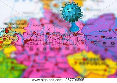 Covid-19 Outbreak Or New Coronavirus, 2019-ncov, Virus Pin In Berlin On Map Of Germany. Covid 19-ncp