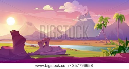 Prehistoric Steaming Volcanoes, Cartoon Volcanic Background With Palm Trees, River And Rock Under Pi