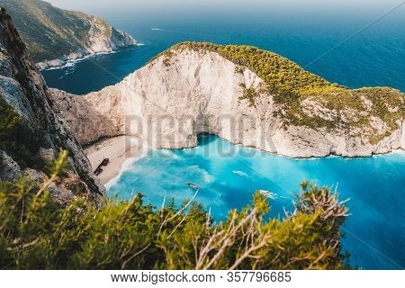Navagio Beach Vintage Look. Waved Bay Water And Abandoned Shipwreck On The Beach. Zakynthos Island,