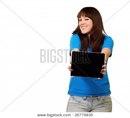 Woman Holding Ipad Isolated On White Background