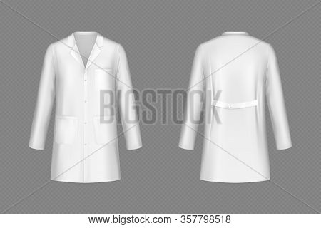 White Doctor Coat, Medical Uniform Isolated On Transparent Background. Vector Realistic Mock Up Of L
