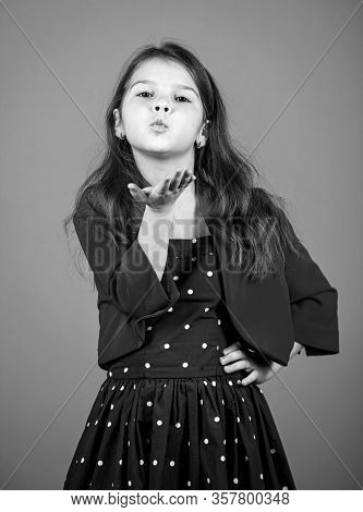Air Kissing. Little Child Send Air Kiss. Small Girl In Fashion Style. Style And Fashion. Keep Elegan