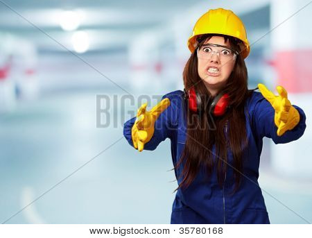 Portrait Of A Frustrated Female Worker, Background