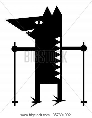 Symbolic Cartoon Rat With Tracking Sticks For Nordic Walking. Black-white Drawing. Vector Art Graphi
