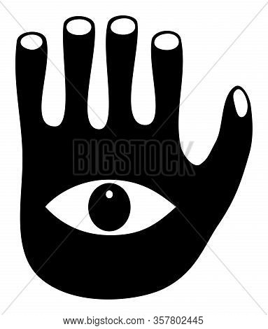 Human Eye On The Background Of The Palm. Symbolic Fantastic Stylized Drawing. Logo.  Vector Graphics